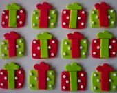 Fondant Cupcake or Cookie Topper Edible Red and Green Christmas Gifts