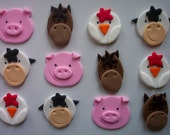 Fondant Cupcake or Cookie Toppers Farm Animals Assortment Edible
