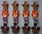 Girl Safari Animals Edible Fondant Cupcake or Cookie Toppers