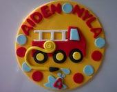 Fire Truck Edible Fondant  Cake Topper