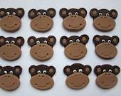 Fondant Cupcake Topper  Happy Monkey
