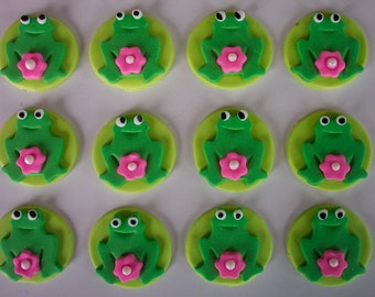 Foncant Cupcake and Cookie Toppers Edible Green Frogs