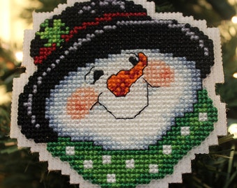 Cross Stitch Christmas Ornament - Snowman in Top Hat