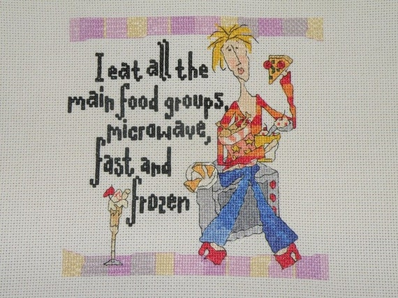 Main Food Groups - Completed Unframed Counted Cross Stitch