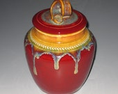 The Emperor's New Cloak in Tibetan Red Tapestry Vase Jar Urn for Cremation or Decoration
