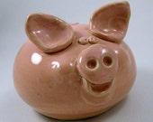 Pink Piggy Bank, Wheel thrown, hand altered