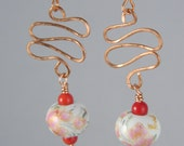 Pink Blossom Ceramic Earrings with Coral Beads and Hammered Copper