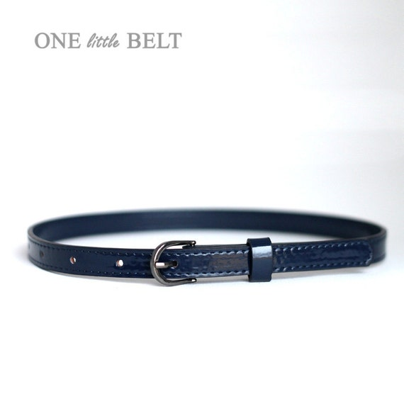 SALE Baby Belt- Navy Faux Patent Leather 6-12 months