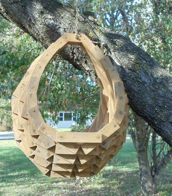 Wood block egg shaped basket hanging planter grab bag sale see
