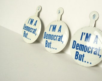 Political Buttons, Political Pins,  Democrat Pin, Vintage Political Button, Democratic Party