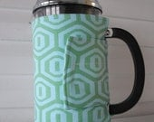 French Press Cozy - Teal Honeycomb