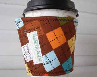 Coffee Cuff - Chocolate Argyle