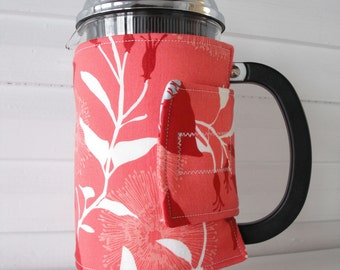French Press Cozy - Columbine Persimmon