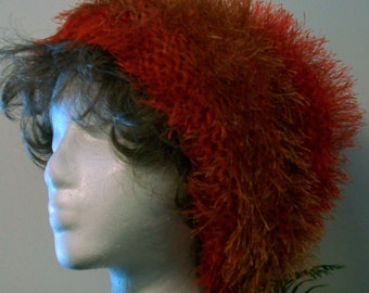 HAT WOMEN KNITTED Slouch Furry Red Orange Beanie Soft Stocking Stuffer