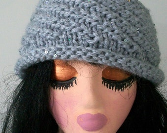 HAT WOMAN KNITTED  Hand knit  Cloche  Gray   Removeable Flower    Gift   Holidays Sparkle
