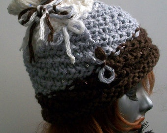 HAT WOMEN KNITTED Ski hat   Snow Teens  Winter  Handmade  Slouchy