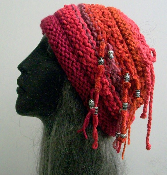 JUANITA BEEHIVE HAT   Beanie    Slouch     Open-top    Stripe    Beads    Strings   Free Shipping usa