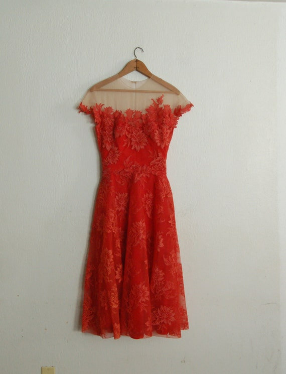 Vintage 1950's Peggy Hunt Spiced Orange Dress