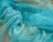 Sea Blue  Mulberry Silk Scarf for Nuno Felting