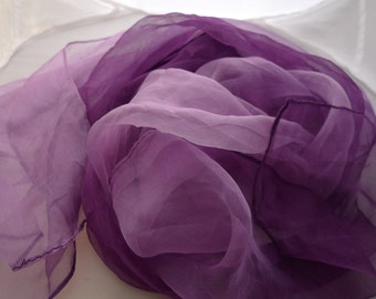 Extra large  Purple Silk gauze Scarf for Nuno Felting