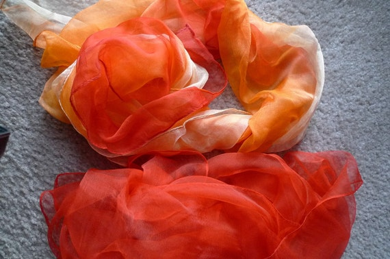 Orange and Red  Mulberry Silk Scarf for Nuno Felting