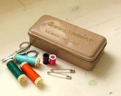 Metal Sewing Accessory Box Vintage