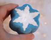 Felt Soap Blue Soap with White Snowflake