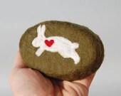 Oval Soap with a Rabbit  (Felted Spearmint Eucalyptus Soap)