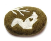 Felted Soap Olive Oval with White Squirrel  (White Tea and Ginger ) MADE TO ORDER