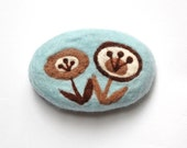 MADE TO ORDER Felted Soap Blue Soap with Brown Retro Flowers ( White Tea and Ginger Scent )