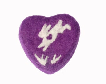 Felted Soap Purple Soap with White Jumping Bunny