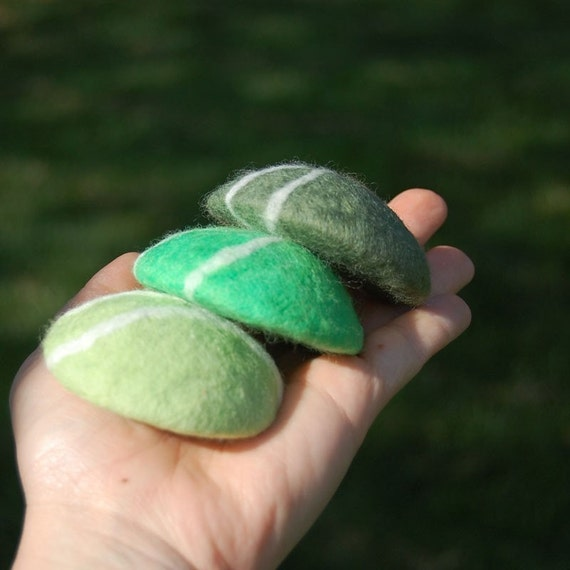Felted Soaps Set of Three Pebbles in Green Tones ( Sage and Lemongrass )