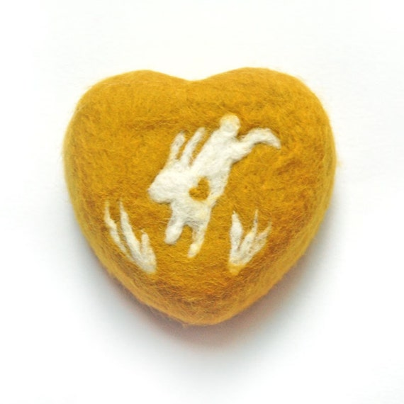 Felted Soap yellow Heart with Jumping Bunny  (Oatmeal Milk and Honey )