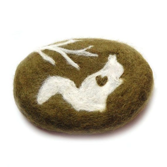 SALE Felted Soap Olive Oval with White Squirrel  (White Tea and Ginger )