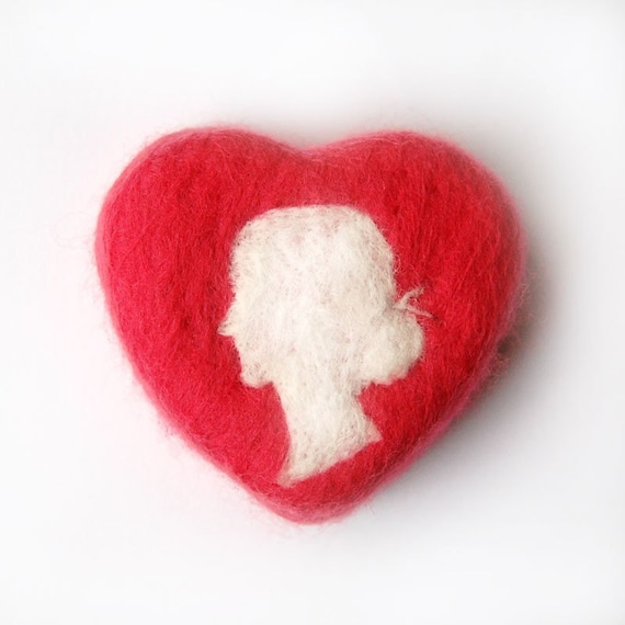 Felted Soap Heart with White Lady Silhouette (Felted Rosehip Jasmine Soap)