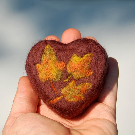 Felted Soap Heart with Autumn Leaves (Vanilla Scent )