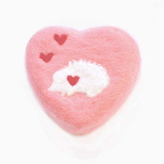 Felted Soap Pink Heart with White Hedgehog (Cherry Blossom)
