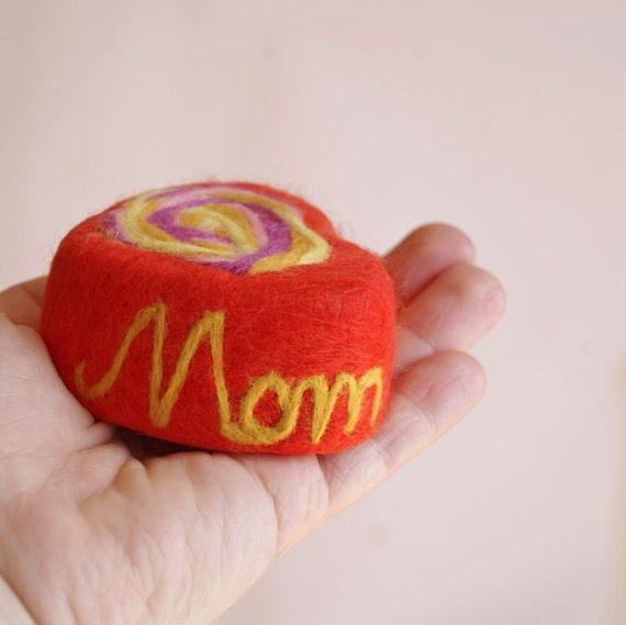 RESERVED SALE Felted Soap Rose for Mom