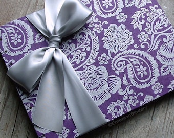 Purple Wedding Guest Book, Purple Paisley with Silver {MADE upon ORDER}