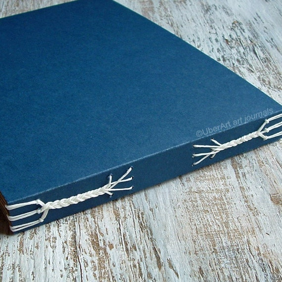 Blank Art Journal in Navy with brown pages, 8x5, READY TO SHIP