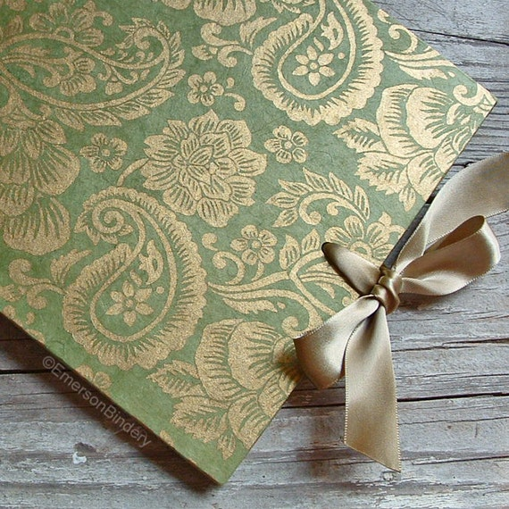 Items Similar To Wedding Guest Book, Moss Green And Gold