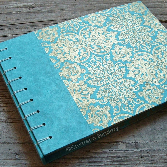 Wedding Photo Album or Guest Book, Far East in Aqua Blue, Select a size, MADE upon ORDER