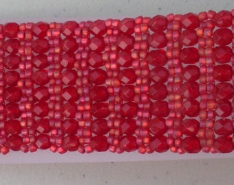 Beaded Bracelet, Red, right angle weave, 7inch, Handmade