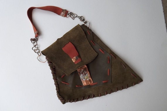 Leather Purse Funky Handmade Leather Medium Purse Sage Handmade  Leather Bag with Copperwork