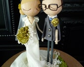 Wedding Cake Topper with Custom Wedding Dress - Custom Keepsake by MilkTea