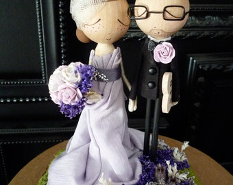 Wedding Cake Topper with Custom Wedding Dress- Custom Keepsake - MilkTea