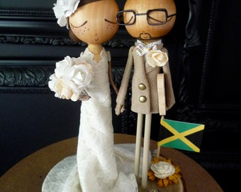 Wedding Cake Topper with Custom Wedding Dress & Beach Theme Keepsake -MilkTea