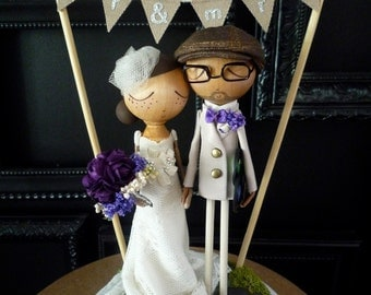 Wedding Cake Topper with Custom Wedding Dress and Flag Bunting Background - Custom Keepsake by MilkTea