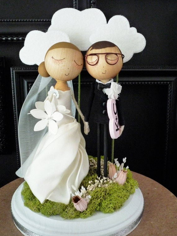 Wedding Cake Topper with Custom Wedding Dress and Cloud Background - Custom Keepsake by MilkTea