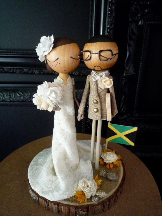 Wedding Cake Topper with Custom Wedding Dress & Beach Theme Keepsake -MilkTea